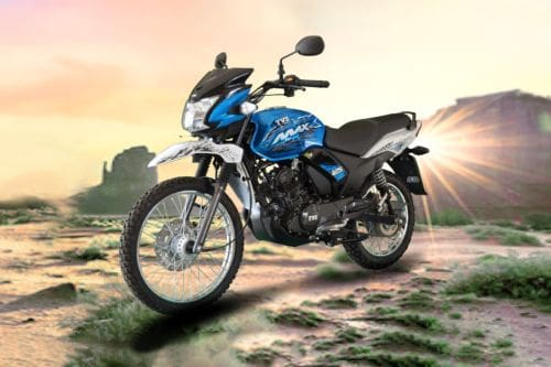 TVS Max 125 Semi Trail Slant Front View Full Image